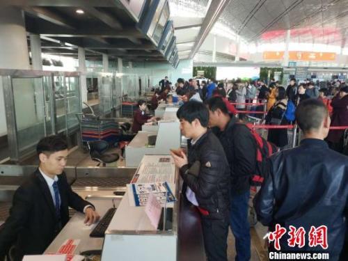 资料图:天津机场内旅客众多。 李金奎 摄